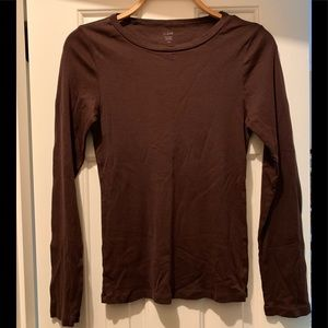 J Crew Fitted long sleeve tee, brown, size large